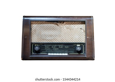 The radio has an old vintage condition.Radio retro isolated on white background . Vintage hipster style concept.