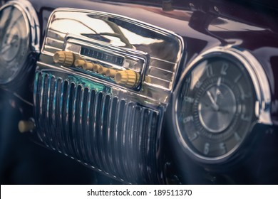 Radio in interior of old vintage automobile