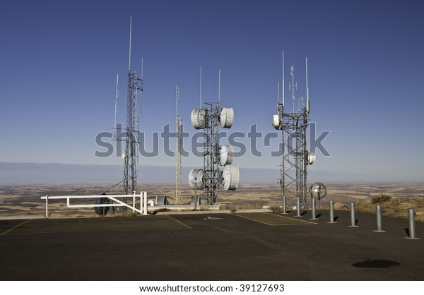 Radio and Microwave towers on top of Steppe Butte in Washington 3100 feet above sea level.