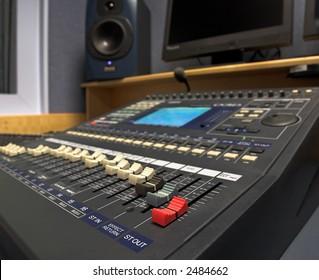 Radio production studio mixing desk