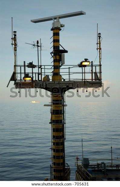Radio Radar Equipment On Offshore Oil Stock Photo (Edit Now) 705631