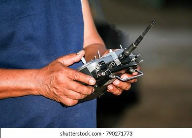 Radio remote control for airplane