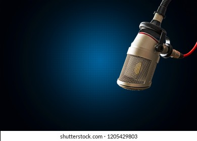 For radio station: background with professional microphone