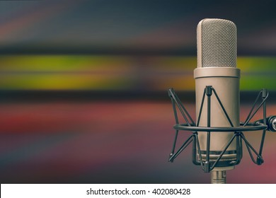 for radio stations: a microphone and an audio console