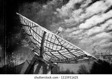Radio telescope in grunge style - directional antenna used in radio astronomy to receive and collect data from satellites and space probes