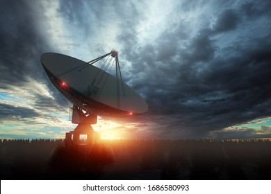 Radio telescope, a large satellite dish against the night sky tracks the stars. Technology concept, search for extraterrestrial life, wiretap of space. Mixed medium, copy space