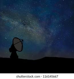 Radio telescope and night sky digitally created.