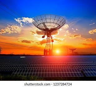 Radio telescope observatory and solar panels