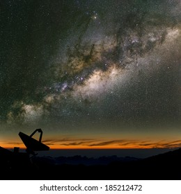 Radio telescope under the Milky Way. The search for intelligent life.