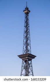 radio tower with blue sky
