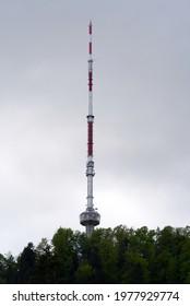 Radio tower at local mountain Uetliberg. Photo taken May 22nd, 2021, Zurich, Switzerland.