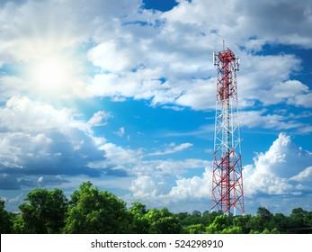 radio tower with nature
