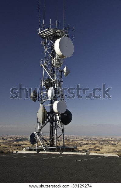 Radio tower on top of Steppe Butte in Washington 3100 feet above sea level.