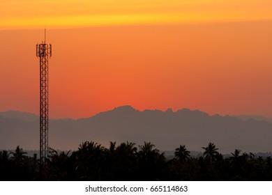 radio tower in sundawn