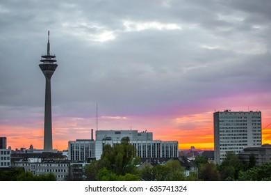 Radio tower Düsseldorf in sunset / Germany / May 2017