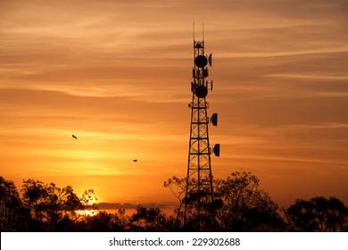 Radio tower at sunset in Redbank Plains, Brisbane, Queensland.