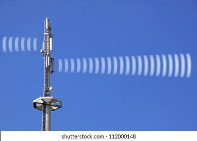 radio tower with symbolic radiation