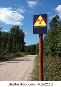 radioactive contamination sign on a forest road