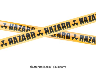 Radioactive Hazard Barrier Tapes, 3D rendering isolated on white background