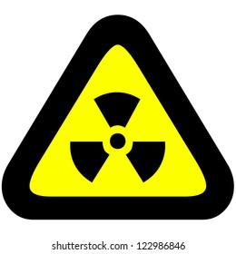 Radioactive hazard warning symbol on yellow triangular sign.