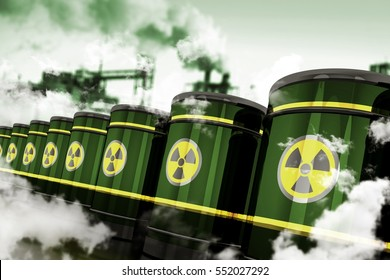 Radioactive Hazardous Waste. Toxic Waste in Metal Barrels Stored in Toxic Factory. 3D Rendered Elements.