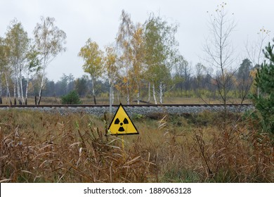 A radioactivity sign at the entrance to the abandoned city of Pripyat in the exclusion zone near the Chernobyl nuclear power plant.