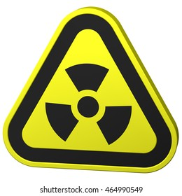 Radioactivity symbol, isolated on white background. 3D rendering.