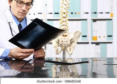 Radiologist doctor checking x ray, health care, medical and radiology concept