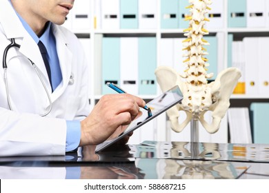 Radiologist doctor with digital tablet checking x ray, health care, medical and radiology concept