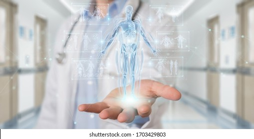 Radiologist on blurred background using digital x-ray human body holographic scan projection 3D rendering