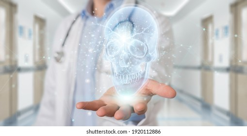 Radiologist on blurred background using digital x-ray skull holographic scan projection 3D rendering