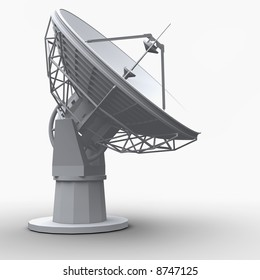 The radio-telescope on white background