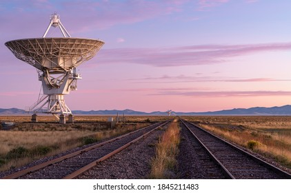 Radiotelescopes at the Very Large Array, the National Radio Observatory in New Mexico at sunrise