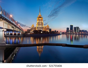 The Radisson Hotel at sunset, reflected in Moscow river