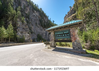 RADIUM HOT SPRINGS, CANADA - May 13, 2018: The Radium Hot Springs sign Next to Highway 93 in the Canadian Rockies. Radium Hot Springs is a popular tourist destination in Kootenay National Park in BC.