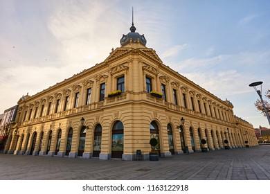 Radnicki dom in city Vukovar in Croatia. Photo taken in 24 November, 2017 in city Vukovar in Croatia.