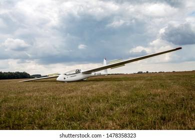 Radom, Airklub, Poland/August 3, 2019 ;A glider at the airport. Winch launching a glider.