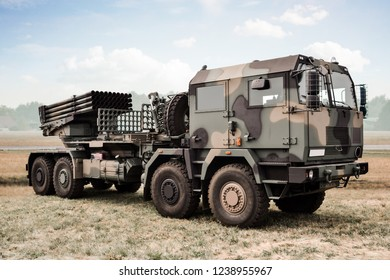 Radom, Mazowieckie / Poland - 08.23.2015 - Heavy military truck with missile launcher/ missile unit (antiaircraft system) - military industry, modern army machines.