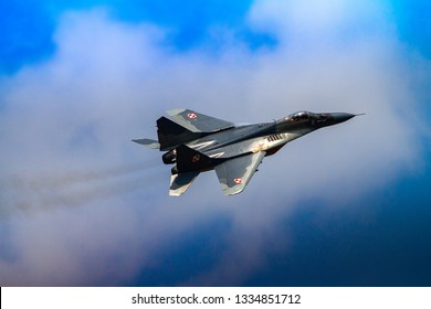 RADOM, MAZOWIECKIE, POLAND - AUGUST 25: Polish Mig-29 demo display team during Air Show 2018 event on August 25, 2018 in Radom, Poland