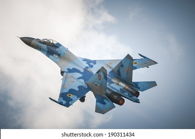 RADOM, POLAND - AUGUST 24: Ukrainian Su-27 Flanker fighter during trainning flight