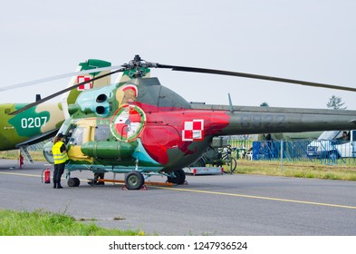 Radom, Poland - August 26, 2017: Mi-2 Helicopter on Airshow Radom. One of most famous aviation events in central Europe.