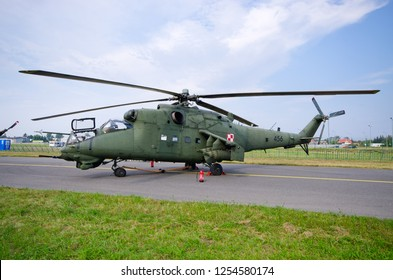 Radom, Poland - August 26, 2017: Mi-24 Helicopter on Airshow Radom. One of most famous aviation events in central Europe.