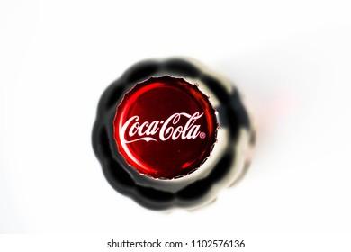 Radomsko, ?odzkie Poland - May 31, 2018/Classic CocaCola cap closeup