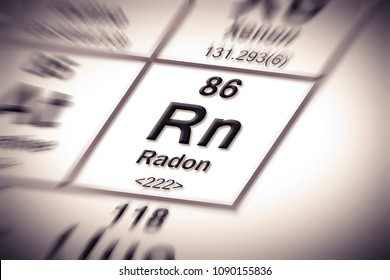 Radon gas - concept image with periodic table of the elements