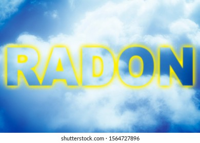 Radon gas text against a cloudy sky - concept image.