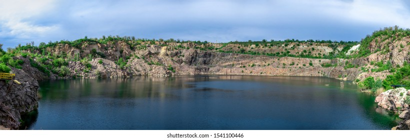 Radon Lake in a place of flooded granite quarry near the Southern Bug river in Mygiya village, Ukraine