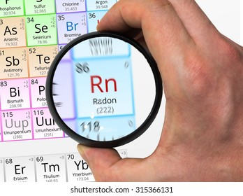 Radon symbol - Rn. Element of the periodic table zoomed with magnifying glass