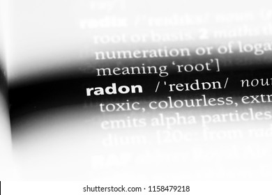 radon word in a dictionary. radon concept.