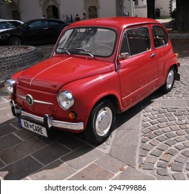 RADOVLJICA, SLOVENIA - AUGUST 26: The Zastava 750 car on August 26, 2012 in Slovenia. Made by the Yugoslavian car maker Zavod Crvena Zastava. It was a version of the Fiat 600 made under licence.