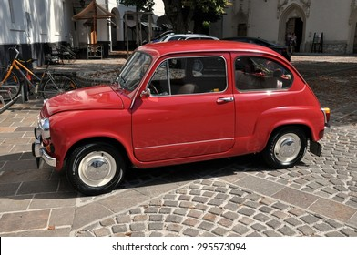 RADOVLJICA, SLOVENIA - AUGUST 26: The Zastava 750 car on August 26, 2012 in Radovljica. It was a version of the Fiat 600 made under licence. It is not produced since falling aparat of Yugoslavia.